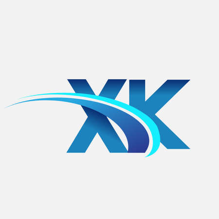 initial letter XK   company name colored blue and swoosh design. vector   for business and company identity.