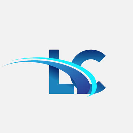 initial letter LC   company name colored blue and swoosh design. vector   for business and company identity.