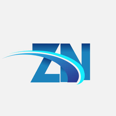initial letter ZN   company name colored blue and swoosh design. vector   for business and company identity.