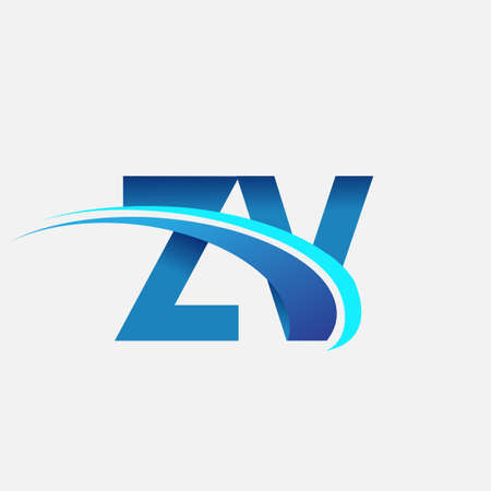 initial letter ZV logotype company name colored blue and swoosh design. vector logo for business and company identity.