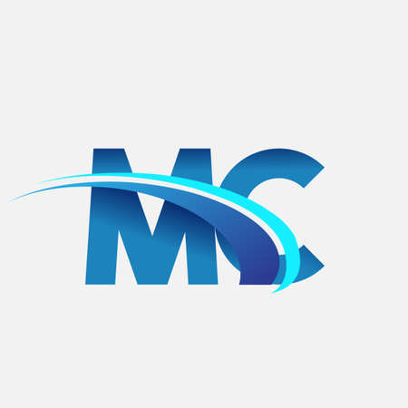 initial letter MC logotype company name colored blue and swoosh design. vector logo for business and company identity.