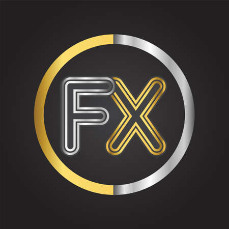FX Letter logo in a circle. gold and silver colored. Vector design template elements for your business or company identity.