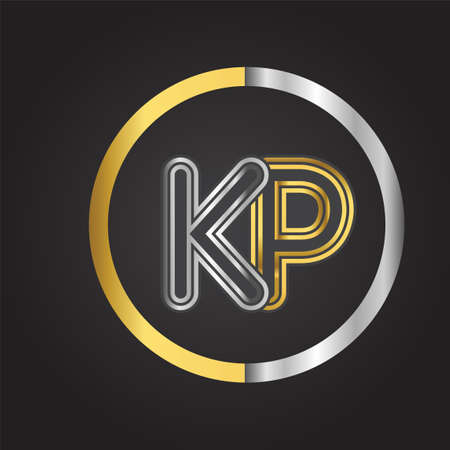 KP Letter logo in a circle. gold and silver colored. Vector design template elements for your business or company identity.