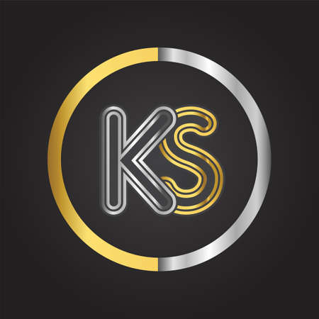 KS Letter logo in a circle. gold and silver colored. Vector design template elements for your business or company identity. Logó