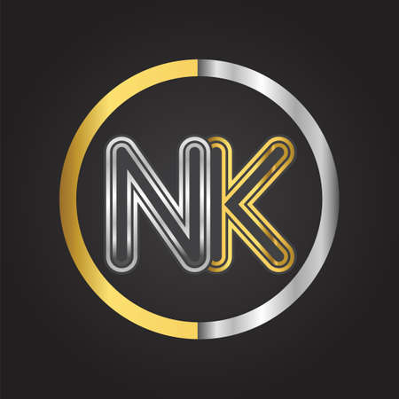 NK Letter logo in a circle. gold and silver colored. Vector design template elements for your business or company identity.