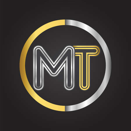 MT Letter logo in a circle. gold and silver colored. Vector design template elements for your business or company identity.