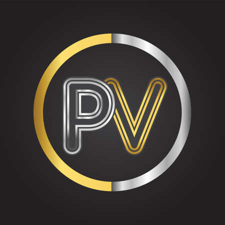 PV Letter logo in a circle. gold and silver colored. Vector design template elements for your business or company identity.