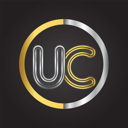 UC Letter   in a circle. gold and silver colored. Vector design template elements for your business or company identity.