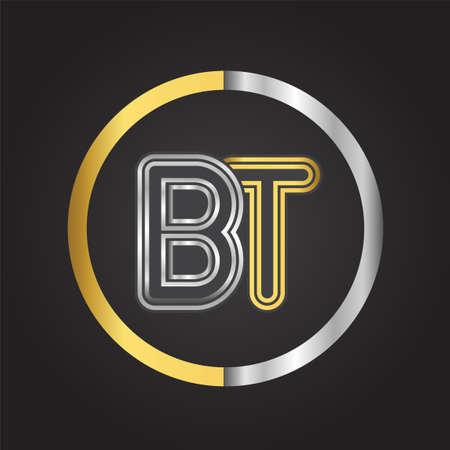 BT Letter   in a circle. gold and silver colored. Vector design template elements for your business or company identity.