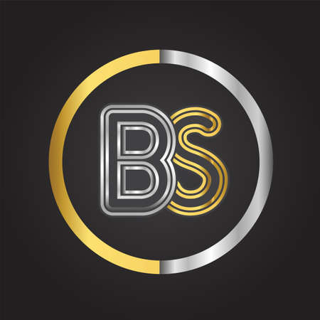 BS Letter   in a circle. gold and silver colored. Vector design template elements for your business or company identity.
