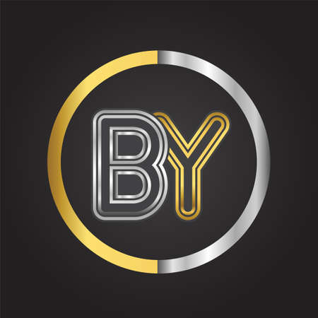 BY Letter   in a circle. gold and silver colored. Vector design template elements for your business or company identity.
