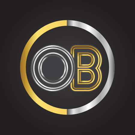 OB Letter   in a circle. gold and silver colored. Vector design template elements for your business or company identity.