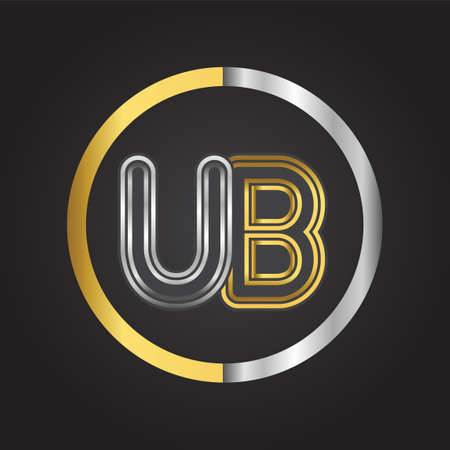 UB Letter   in a circle. gold and silver colored. Vector design template elements for your business or company identity.