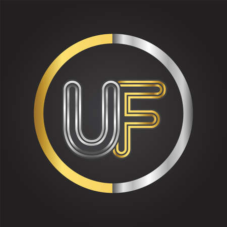 UF Letter   in a circle. gold and silver colored. Vector design template elements for your business or company identity.