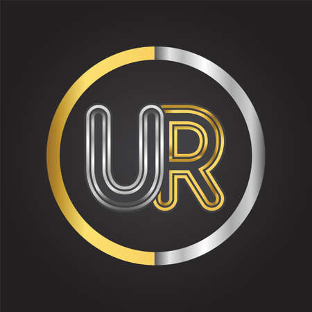 UR Letter  in a circle. gold and silver colored. Vector design template elements for your business or company identity. 向量圖像