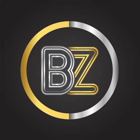 BZ Letter   in a circle. gold and silver colored. Vector design template elements for your business or company identity.