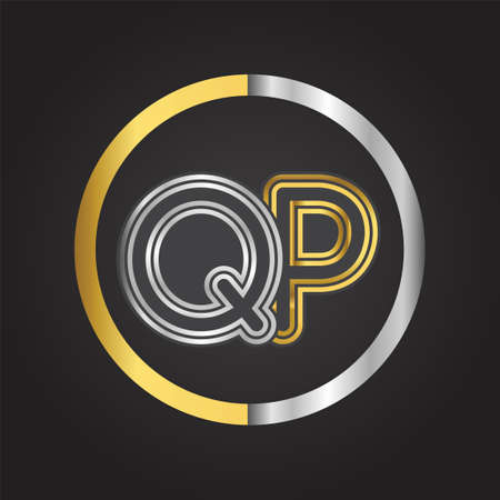 QP Letter   in a circle. gold and silver colored. Vector design template elements for your business or company identity.
