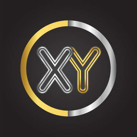 XY Letter   in a circle. gold and silver colored. Vector design template elements for your business or company identity.