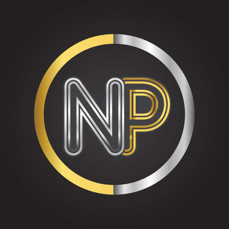 NP Letter   in a circle. gold and silver colored. Vector design template elements for your business or company identity.