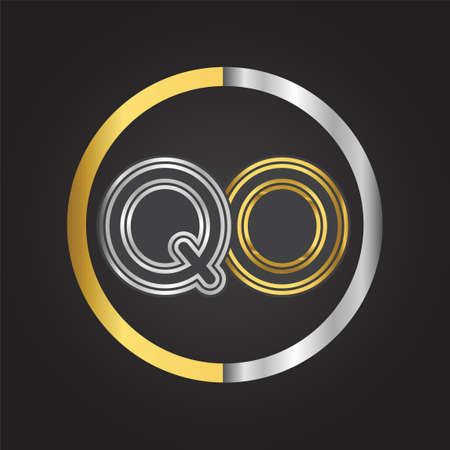 QO Letter   in a circle. gold and silver colored. Vector design template elements for your business or company identity.