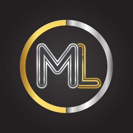 ML Letter in a circle. gold and silver colored. Vector design template elements for your business or company identity.