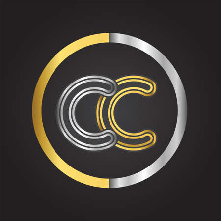 CC Letter in a circle. gold and silver colored. Vector design template elements for your business or company identity.