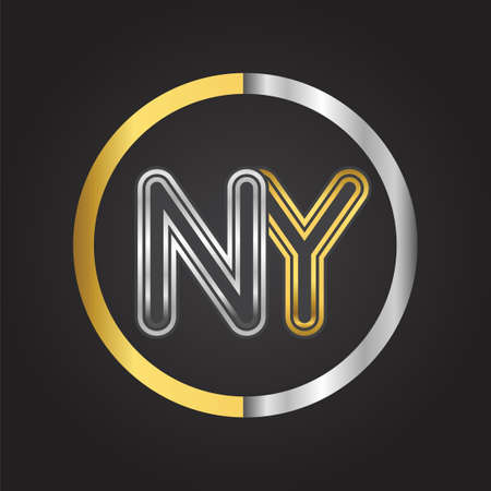 NY Letter in a circle. gold and silver colored. Vector design template elements for your business or company identity.