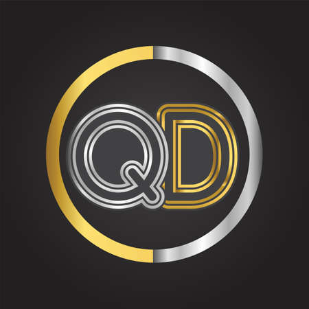 QD Letter in a circle. gold and silver colored. Vector design template elements for your business or company identity.