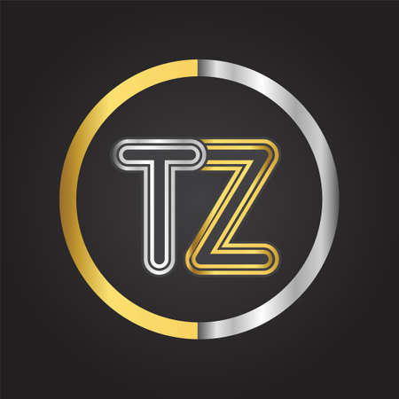 TZ Letter in a circle. gold and silver colored. Vector design template elements for your business or company identity.