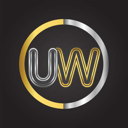 UW Letter in a circle. gold and silver colored. Vector design template elements for your business or company identity. 向量圖像