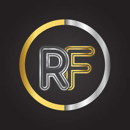 RF Letter in a circle. gold and silver colored. Vector design template elements for your business or company identity.