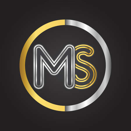 MS Letter in a circle. gold and silver colored. Vector design template elements for your business or company identity. 向量圖像