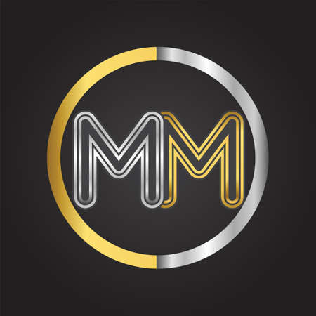MM Letter in a circle. gold and silver colored. Vector design template elements for your business or company identity. 向量圖像