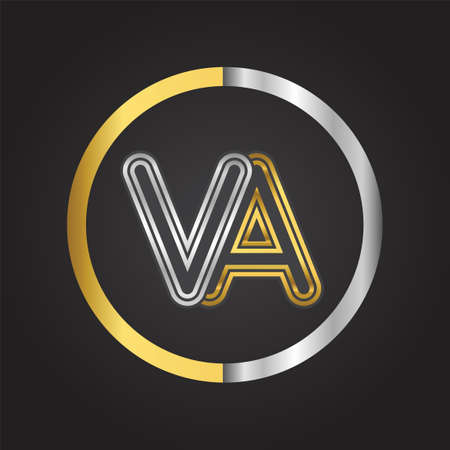 VA Letter   in a circle. gold and silver colored. Vector design template elements for your business or company identity.