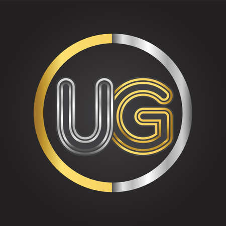 UG Letter   in a circle. gold and silver colored. Vector design template elements for your business or company identity. 向量圖像