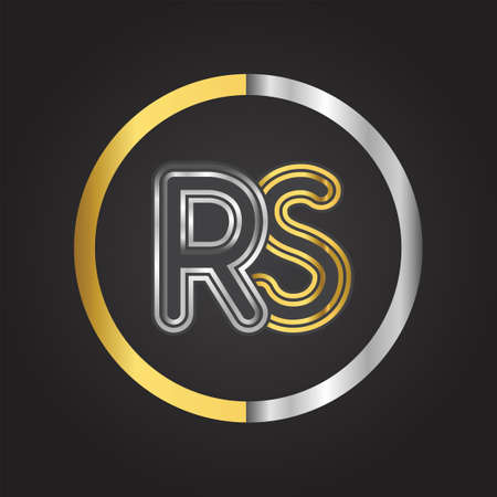 RS Letter   in a circle. gold and silver colored. Vector design template elements for your business or company identity.