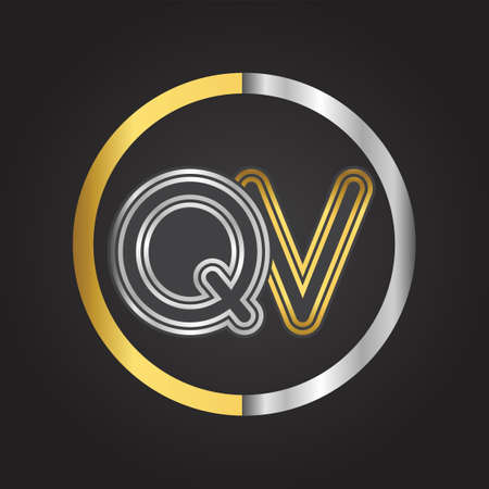 QV Letter   in a circle. gold and silver colored. Vector design template elements for your business or company identity. 向量圖像