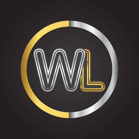WL Letter   in a circle. gold and silver colored. Vector design template elements for your business or company identity.