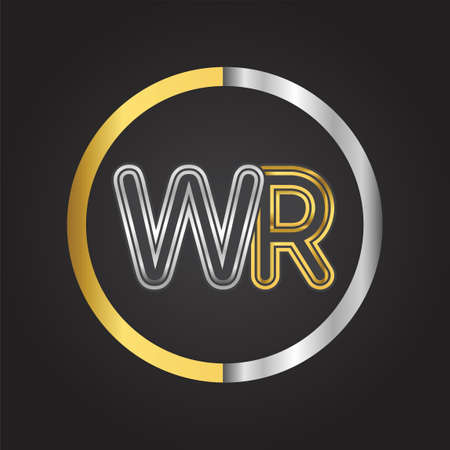 WR Letter   in a circle. gold and silver colored. Vector design template elements for your business or company identity. 向量圖像