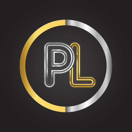 PL Letter   in a circle. gold and silver colored. Vector design template elements for your business or company identity. 向量圖像