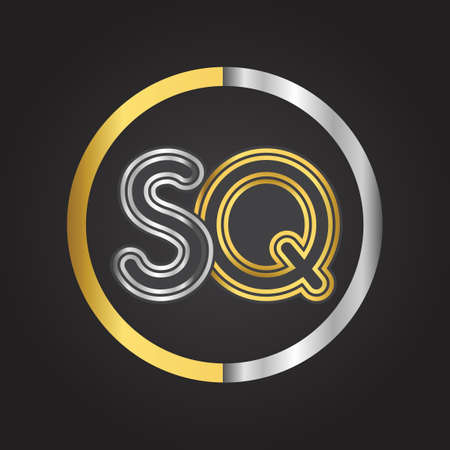 SQ Letter logo in a circle. gold and silver colored. Vector design template elements for your business or company identity.