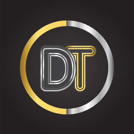 DT Letter in a circle. gold and silver colored. Vector design template elements for your business or company identity.