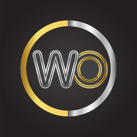WO Letter in a circle. gold and silver colored. Vector design template elements for your business or company identity.