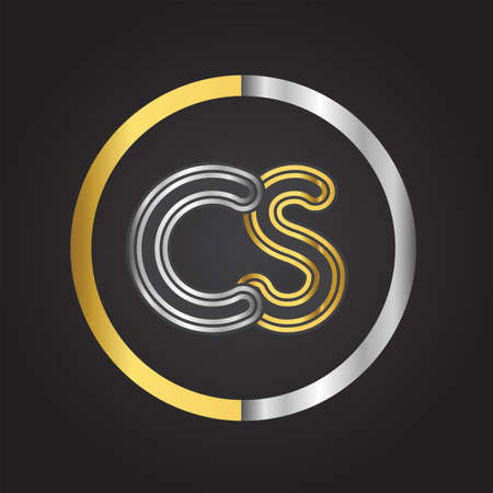 CS Letter logo in a circle. gold and silver colored. Vector design template elements for your business or company identity. Logó