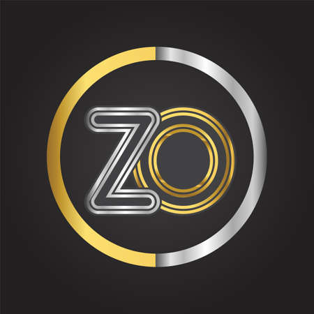 ZO Letter logo in a circle. gold and silver colored. Vector design template elements for your business or company identity. Logo