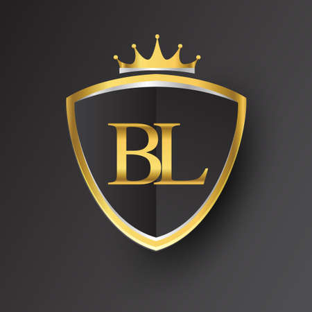 Initial letter BL with shield and crown Icon golden color isolated on black background, symbol design for company identity.