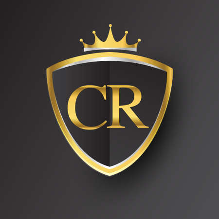 Initial letter CR with shield and crown Icon golden color isolated on black background, symbol design for company identity. Vektoros illusztráció