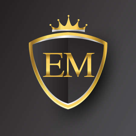 Initial letter EM with shield and crown Icon golden color isolated on black background, symbol design for company identity.