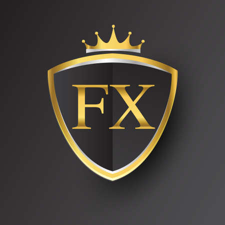 Initial letter FX with shield and crown Icon golden color isolated on black background, icon design for company identity.