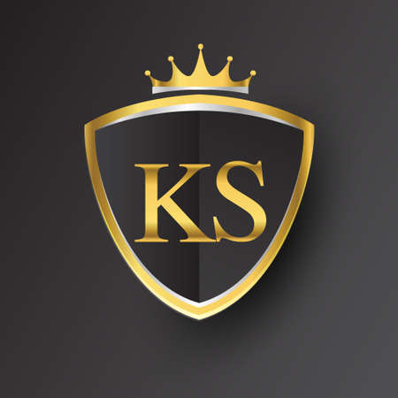 Initial logo letter KS with shield and crown Icon golden color isolated on black background, logotype design for company identity.